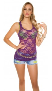 Sexy Top, transparent with flowers Purple