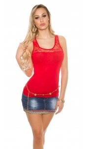 Sexy tank top with lace at the neckline Red