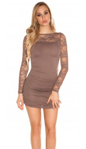 Sexy long sleeve mini dress & transparent sleeves Cappuccino