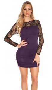 Sexy long sleeve mini dress & transparent sleeves Purple