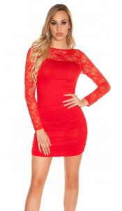 Sexy long sleeve mini dress & transparent sleeves Red
