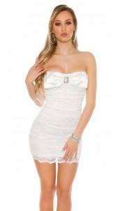 Sexy KouCla Bandeau-minidress with lace Cream