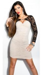 Sexy KouCla lace-minidress with rhinestone-brooch Beige