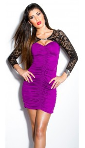 Sexy KouCla lace-minidress with rhinestone-brooch Purple