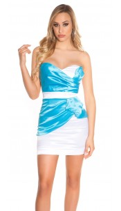 Sexy Bandeau Cocktail-Dress with Zip Turquoisewhite