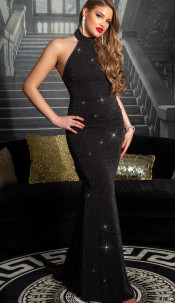 Sexy Red-Carpet KouCla Neck-Gown with glitter Blacksilver