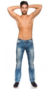 Trendy Light washed Jeans Used Look Jeansblue