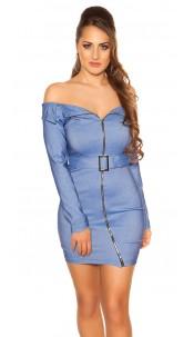 Sexy KouCla Off Shoulder Mini Dress with Belt Blue