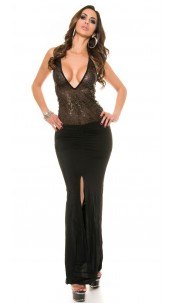 Sexy ClubStyle LongDress transparent with sequin Black