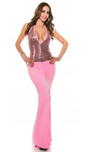 Sexy ClubStyle LongDress transparent with sequin Pink