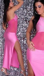 Sexy Neckdress, net on belly with rhinestones Pink