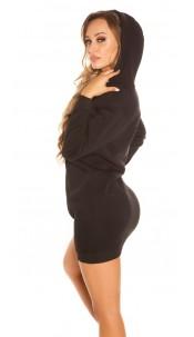 Trendy Basic long Hoody / Hooded Sweat Dress Black