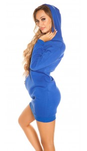 Trendy Basic long Hoody / Hooded Sweat Dress Royalblue