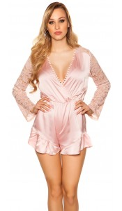 Sexy V-Cut playsuit in satin look Pink