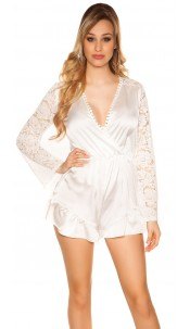 Sexy V-Cut playsuit in satin look White