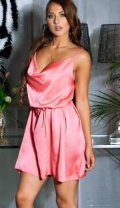 Sexy Satin-Look Minidress with waist belt Coral