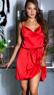 Sexy Satin-Look Minidress with waist belt Red