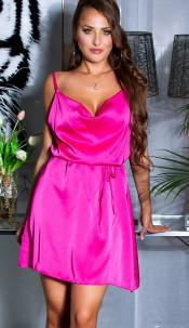 Sexy Satin-Look Minidress with waist belt Pink