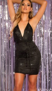 Sexy Party Glitter Mini Dress to tie up backless Black