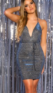 Sexy Party Glitter Mini Dress to tie up backless Blue