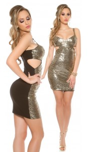Sexy KouCla party sequin minidress with cut outs Blackgold