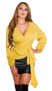 Sexy Wrap Blouse It S UP2 U Mustard