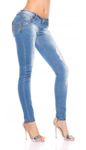 Sexy KouCla Skinnies with studs and chains Jeansblue