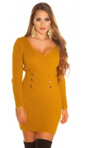 Sexy chunky knit mini dress with decoration button Mustard