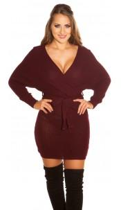 Sexy chunky knt mini dress with belt Bordeaux