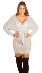 Sexy chunky knt mini dress with belt Grey