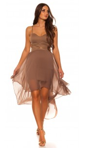 Sexy KouCla high low dress with sexy insight Cappuccino
