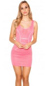 Sexy KouCla mini dress with mesh panels Fuchsia