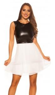 Sexy KouCla mini dress with chiffon & leather look White