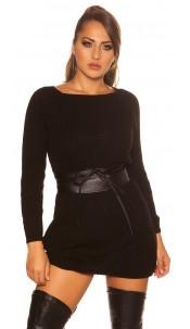 Sexy KouCla chunky knit mini dress Black