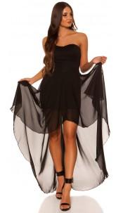 Sexy KouCla High-Low Bandeau-dress Black