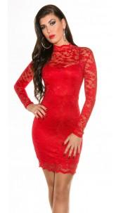 Sexxy KouCla laced mini dress longsleeve Red