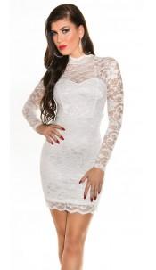 Sexxy KouCla laced mini dress longsleeve White