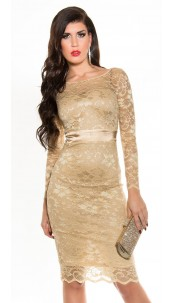 Sexy KouCla laced pencil dress Beige
