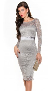 Sexy KouCla laced pencil dress Grey