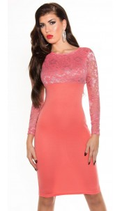 Elegant KouCla midi pencil dress with lace Coral