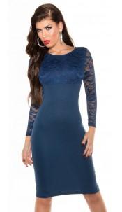 Elegant KouCla midi pencil dress with lace Navy