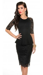 Sexy KouCla shift dress with peplum & lace Black