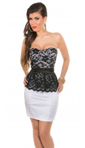 Sexy KouCla Bandeau Dress with Lace Peplum White