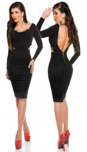 Sexy KouCla Shift Dress with Cowl Neck/Backless Black