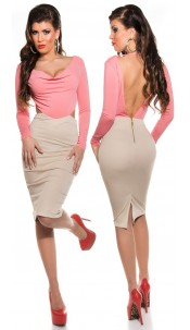 Sexy KouCla Shift Dress with Cowl Neck/Backless Salmon