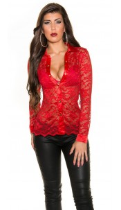 Sexy KouCla lace blouse Red
