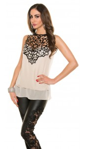 Trendy KouCla blouse with fake leather application Beige