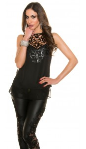 Trendy KouCla blouse with fake leather application Black