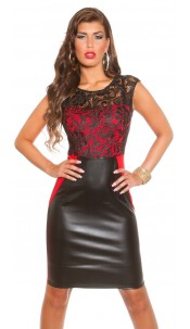 Sexy Koucla dress with lace and leatherlook Red