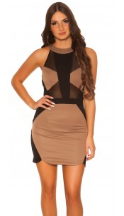 Sexy Koucla dress with net-applications Cappuccino
